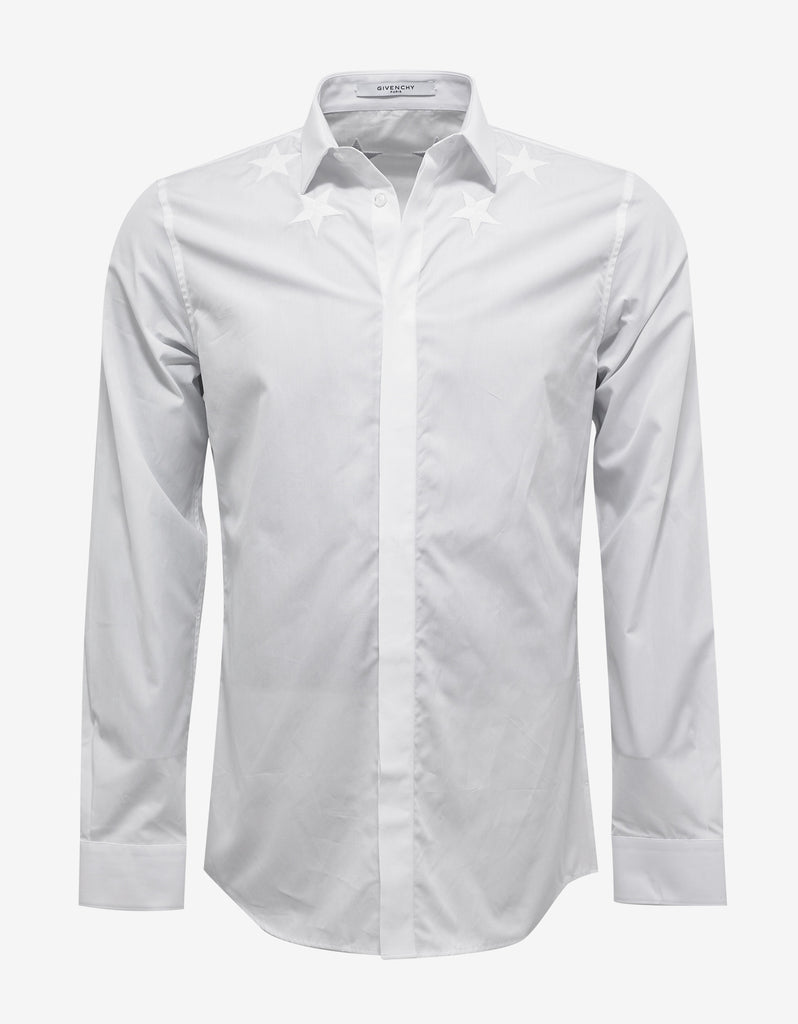 White Contemporary Fit Shirt with Stars