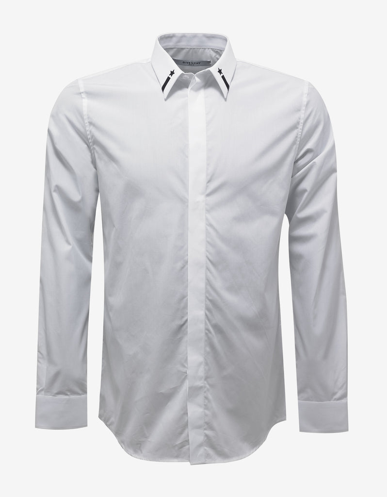 White Contemporary Fit Shirt with Stars & Band