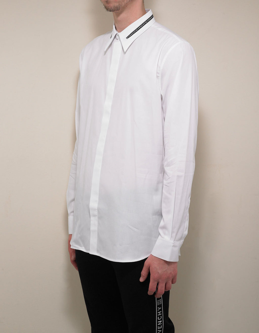 White Logo Collar Shirt -