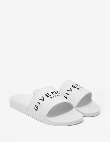 Givenchy White Logo Embossed Slide Sandals