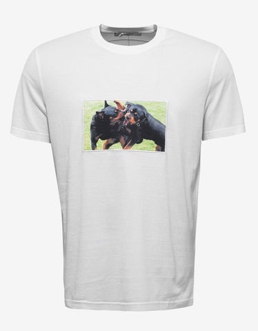 Givenchy White Rottweiler Patch Cuban Fit T-Shirt