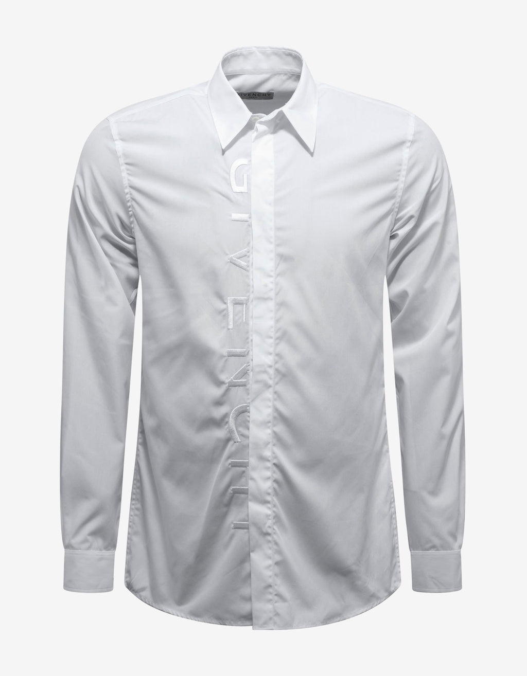 White Tonal Logo Embroidery Shirt -