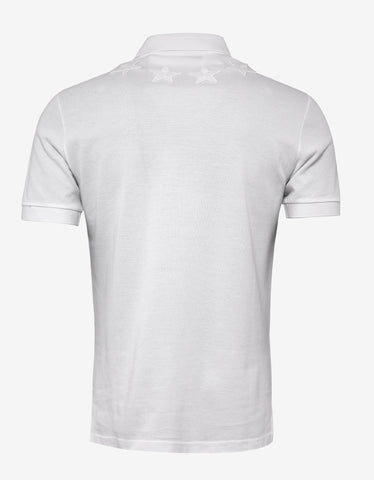 Givenchy White Cuban Fit Polo T-Shirt with Tonal Stars