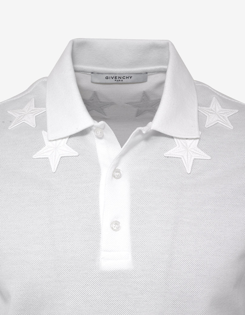 White Cuban Fit Polo T-Shirt with Tonal Stars
