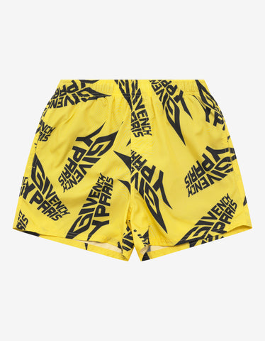 Givenchy Yellow Logo Print Swim Shorts