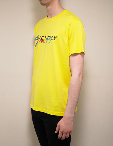 Givenchy Yellow Rainbow Logo T-Shirt
