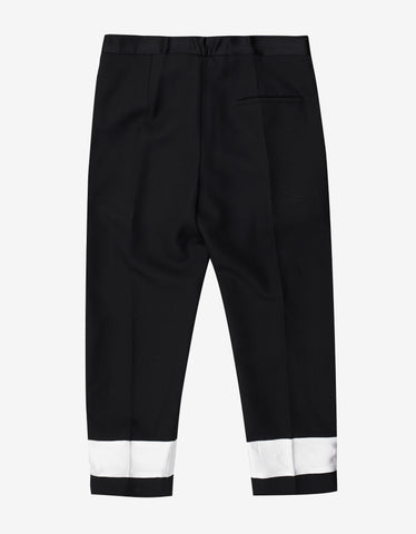 Haider Ackermann Orbai Black Contrast Band Cropped Trousers
