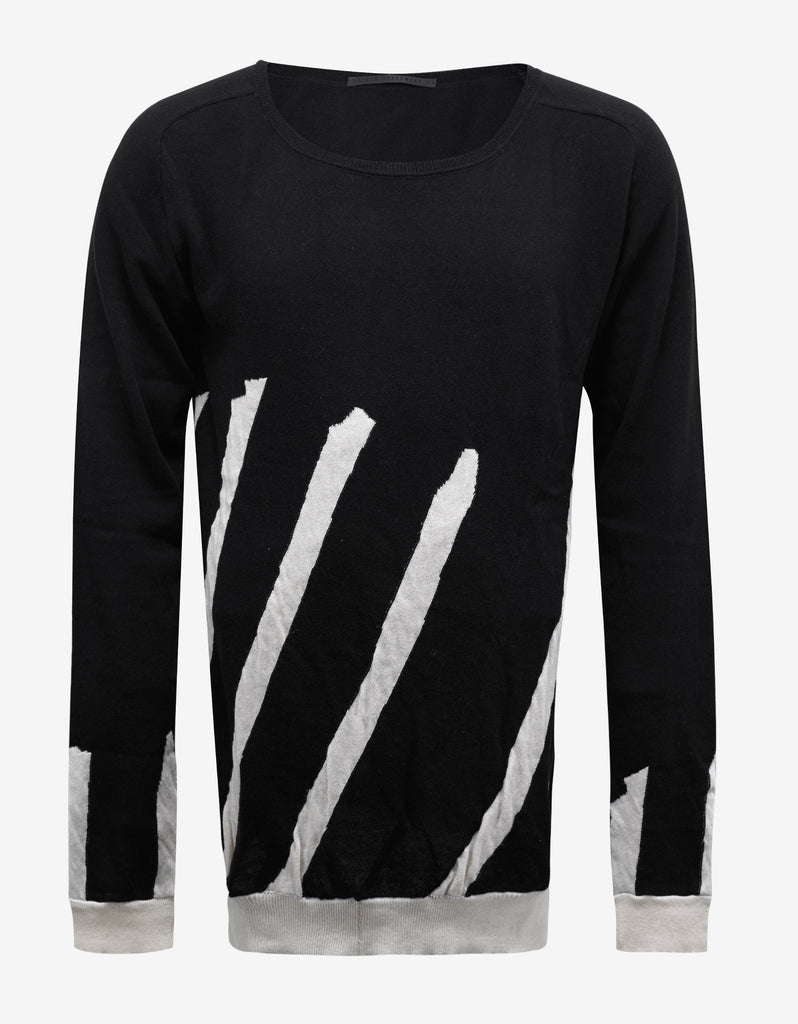 Haddad Black Scoop Neck Striped Sweater