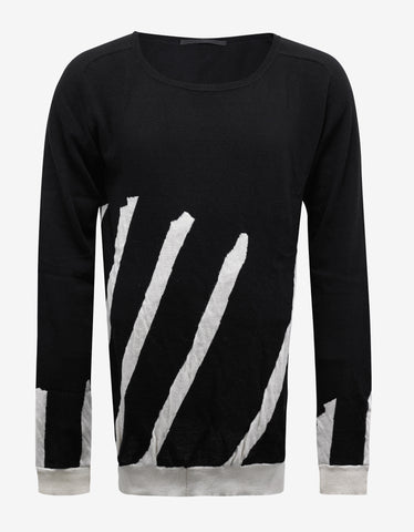 Haider Ackermann Haddad Black Scoop Neck Striped Sweater