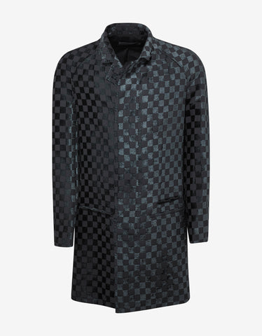 Haider Ackermann Monet Black & Blue-Grey Check Raglan Coat