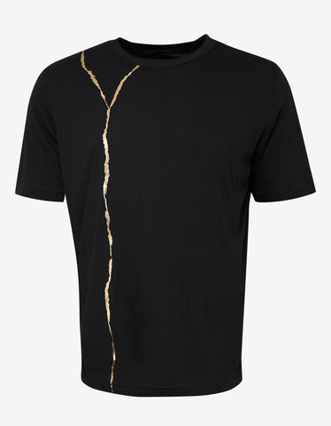 Haider Ackermann Perfusion Gold Line Print Black T-Shirt