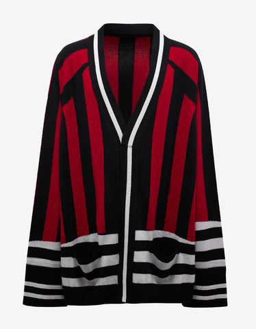 Haider Ackermann Invidia Red, Black & White Oversized Cardigan