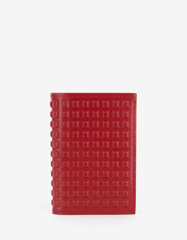 Balenciaga Red Studded Leather Card Wallet