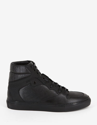 Balenciaga Black Reptile Embossed Leather High Top Trainers