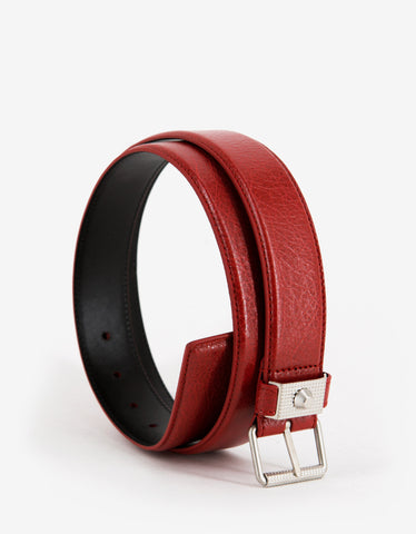 Balenciaga Rouge Grenade Arena Leather Belt