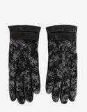 Black Leather Greenland Panel Gloves