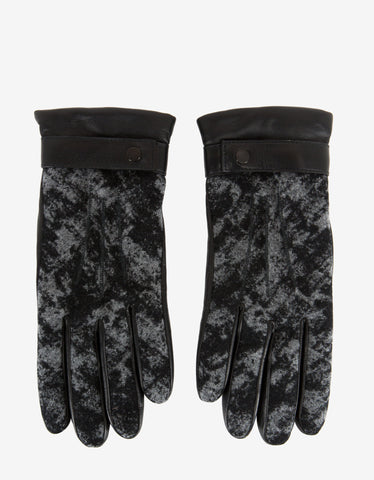Balenciaga Black Leather Greenland Panel Gloves