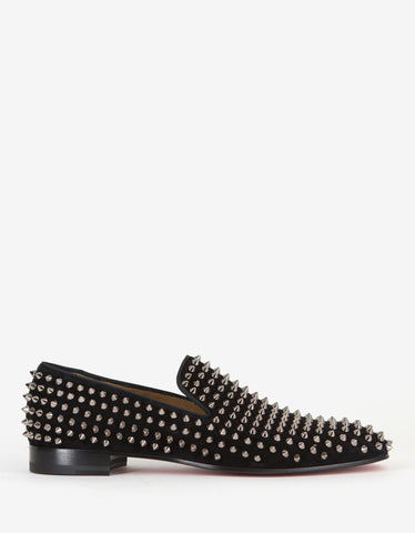 Christian Louboutin Dandelion Spikes Black Suede Loafers