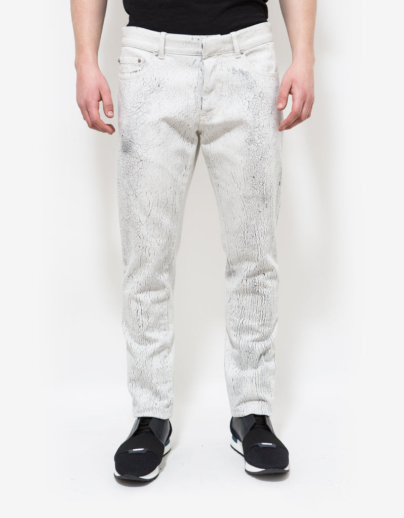 White Distressed Print Jeans