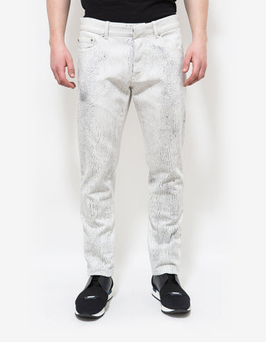 Balenciaga White Distressed Print Jeans