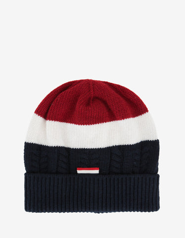 Moncler Gamme Bleu Tricolour Virgin Wool Beanie Hat