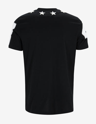 Givenchy Black '74' Cuban T-Shirt with Stars