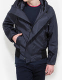 Navy Blue Raw Edge Viscose Hooded Blouson