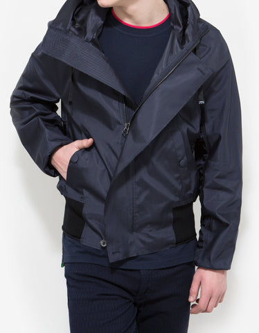 Lanvin Navy Blue Raw Edge Viscose Hooded Blouson
