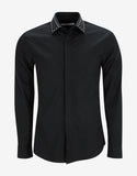 Black Studded Collar Cuban Fit Shirt