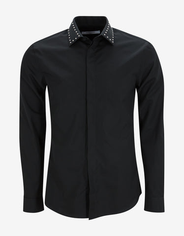 Givenchy Black Studded Collar Cuban Fit Shirt