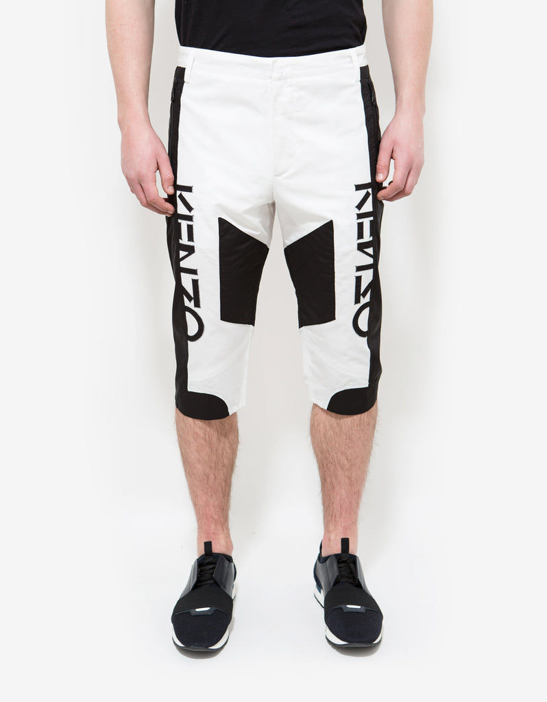 White & Black Linen-Blend Shorts
