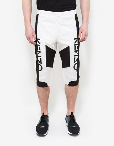 Kenzo White & Black Linen-Blend Shorts