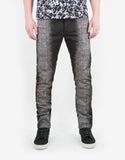 Black Spray Paint Effect Slim Cotton Jeans