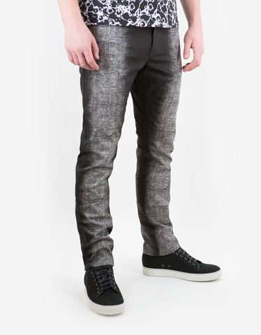 Balenciaga Black Spray Paint Effect Slim Cotton Jeans