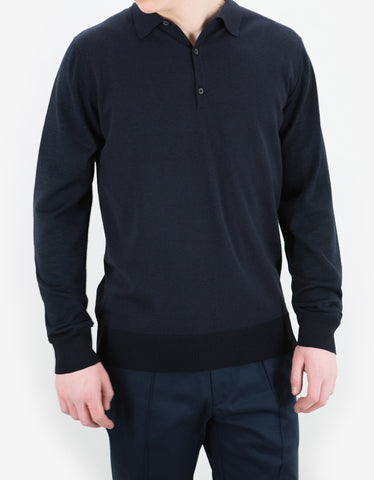 Lanvin Navy Blue Wool Blend L/S Polo T-Shirt