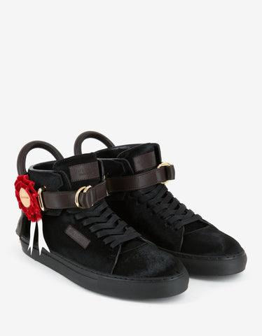 Buscemi Triple Crown Black 100mm High Top Trainers