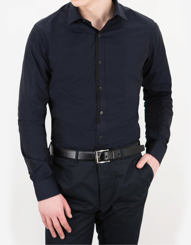 Lanvin Navy Blue Fitted Shirt with Placket Trim