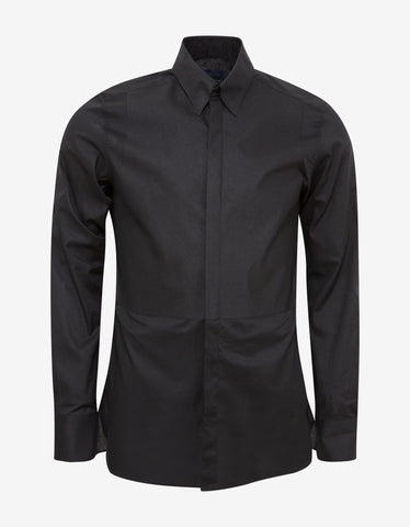 Lanvin Black Slim-Fit Shirt with Bib