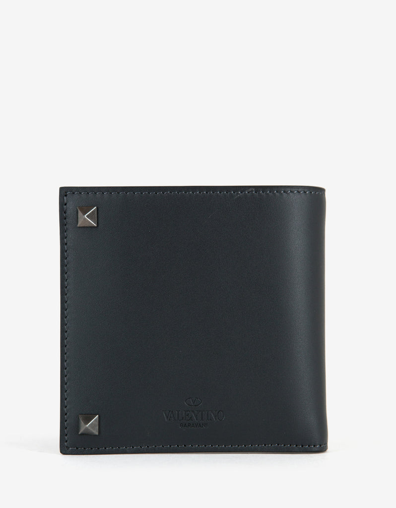 Grey Leather Rockstud Billfold Wallet