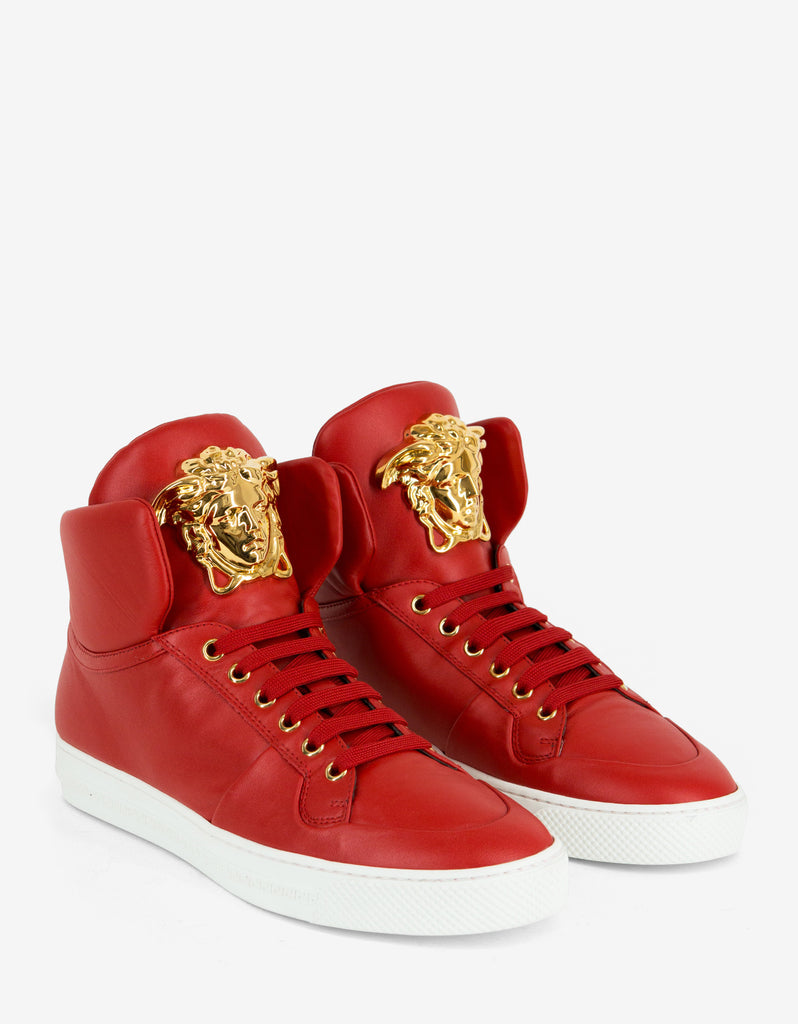 Red Leather Medusa High Top Trainers