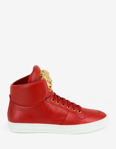 Versace Red Leather Medusa High Top Trainers