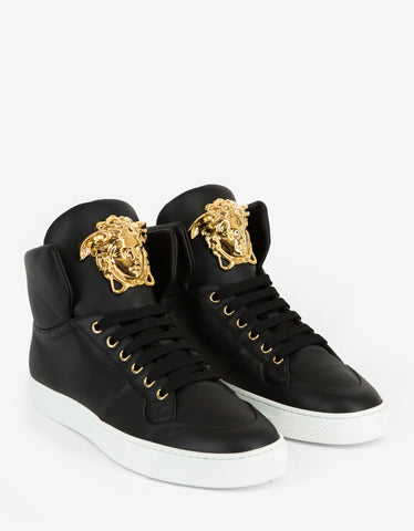 Versace Black Leather Medusa High Top Trainers