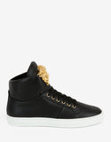 Black Leather Medusa High Top Trainers