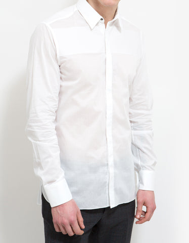 Lanvin White Slim-Fit Shirt with Band