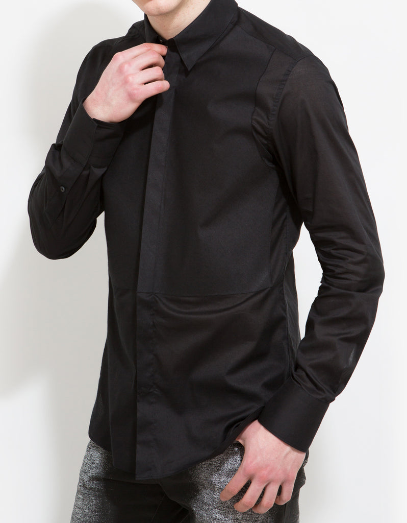 Black Slim-Fit Shirt with Bib