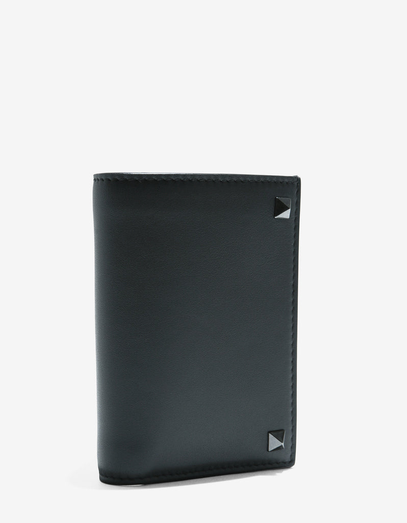 Grey Leather Rockstud Bi-Fold Card Holder