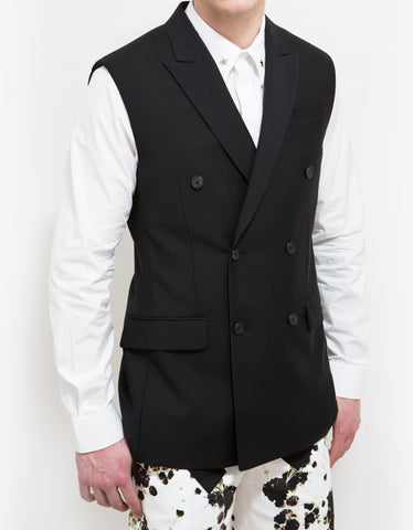 Givenchy Black Double-Breasted Sleeveless Blazer