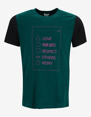 Kenzo Green Care Instructions Print T-Shirt