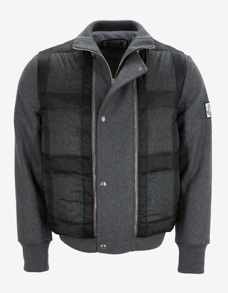 Grey Cashmere Dual Layer Bomber Jacket