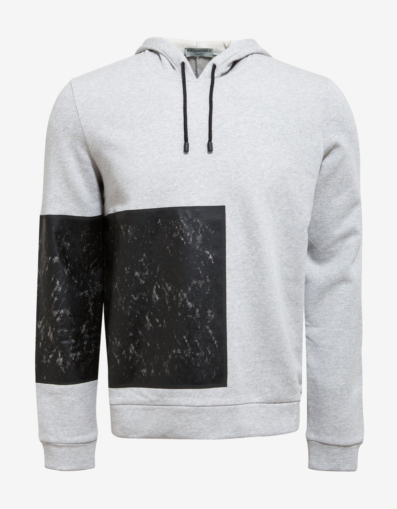 Grey Contrast Patch Hoodie